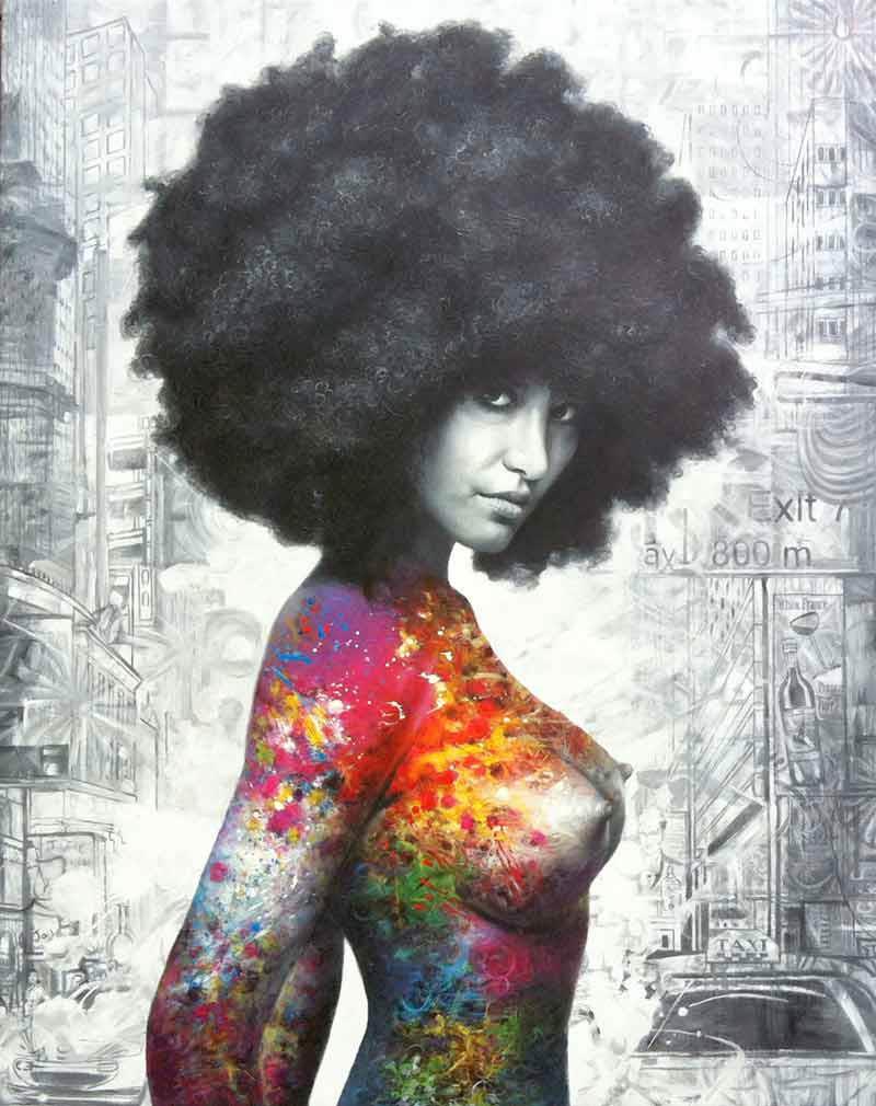 → Farverige plakater ← Køb farverig plakat af nøgen kvinde her