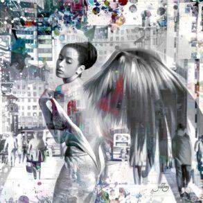 Romantisk maleri af kvinde udformet som engel