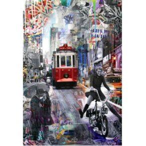 Kunst maleri af by med mennesker