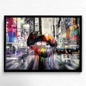 Signeret plakat af en mund i en by med mange farver og biler