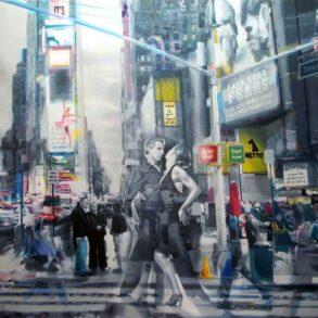 bymaleri med mennesker - amerikansk storby