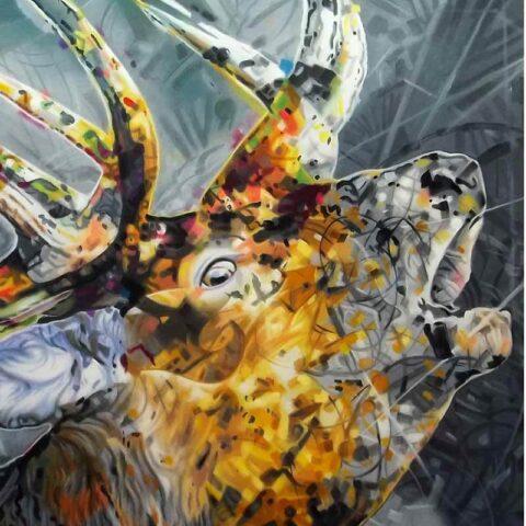 Moderne kunst maleri hjort / af kronhjort