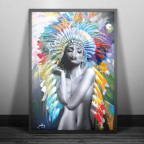 farverig plakat af kvinde der ryger