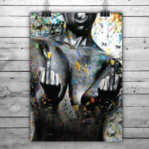 feministisk og stærk plakat af nøgen kvinde