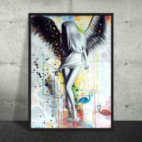 Flot stor plakat af kvindelig engel