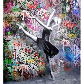 Maskulint Grafitti maleri med fin balletdanser