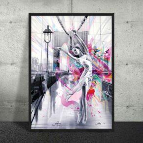 Kvindelig plakat af dansende balletdanser