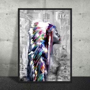 Stor kunstplakat af originalt dansk maleri af indianer kvinde