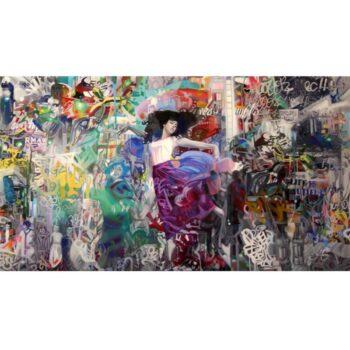 Maleri af danser med graffiti detaljer