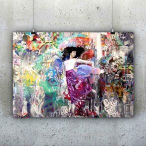 Farverig plakat med grafitti baggrund