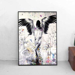 Plakat af tatoveret engel og Moderne kunstplakat