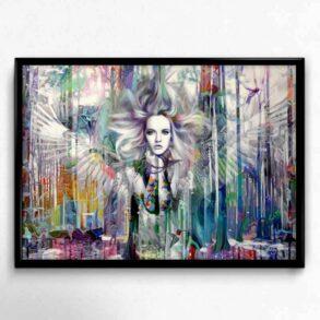 Plakat af engel i stærke farver