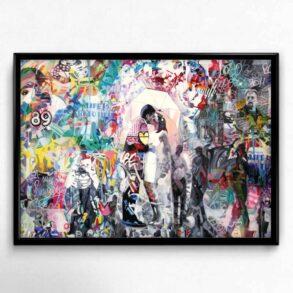 romantisk plakat med abstrakt baggrund til stuen