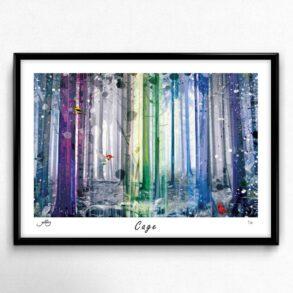 Unik kunstplakat af skov i flotte farver