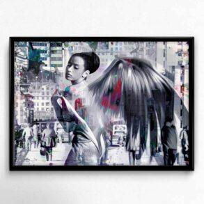 Kunstplakat med Stærk Feminin Engel i grå toner