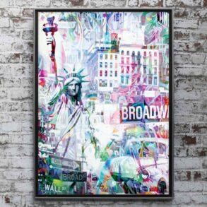 Plakat af USA og amerikansk storby