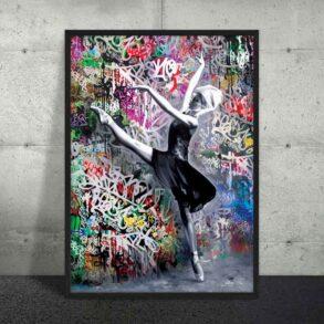 farverig plakat med grafitti og balletdanser