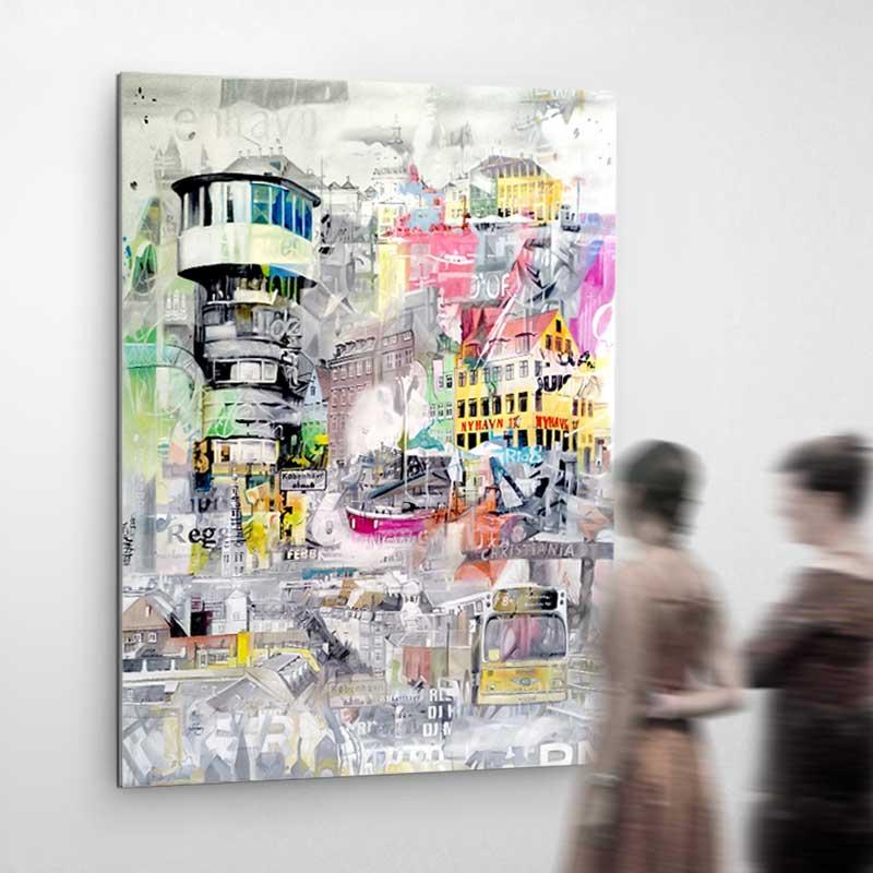 → Farverige malerier ← Moderne kunst malerier til salg til stuen ...