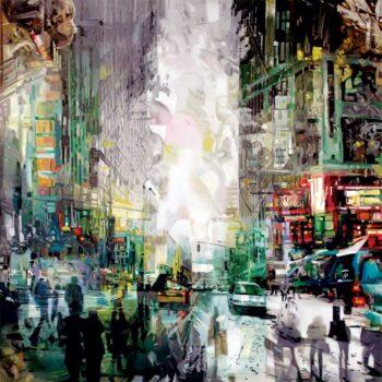 Maleri af by med liv, mennesker og biler