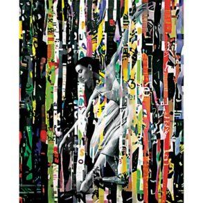 Stort farverigt Maleri af balletdanser i abstrakt maleri
