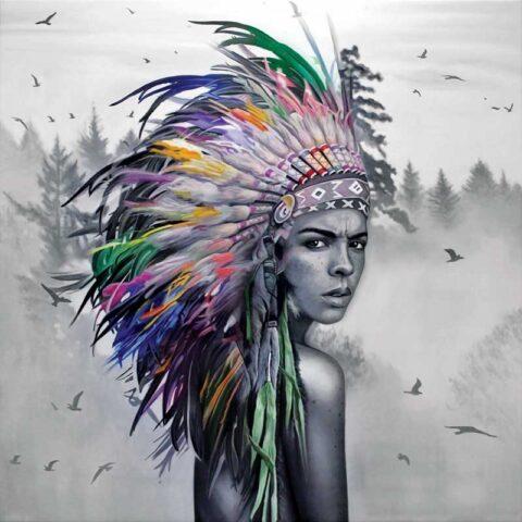 Maleri af indianer malet sensuel kvinde
