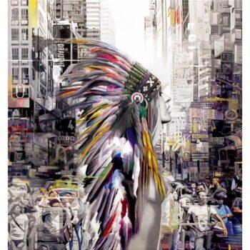 Maleri af Indianer i storby - stort flot maleri af kvinde i storby
