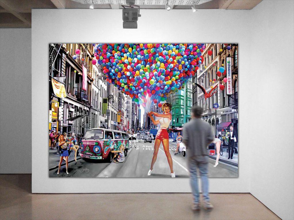 Kæmpe maleri af pinup piger i by