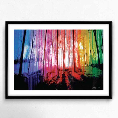 Plakat af farverig skov