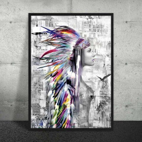 sort hvid plakat af kvinde