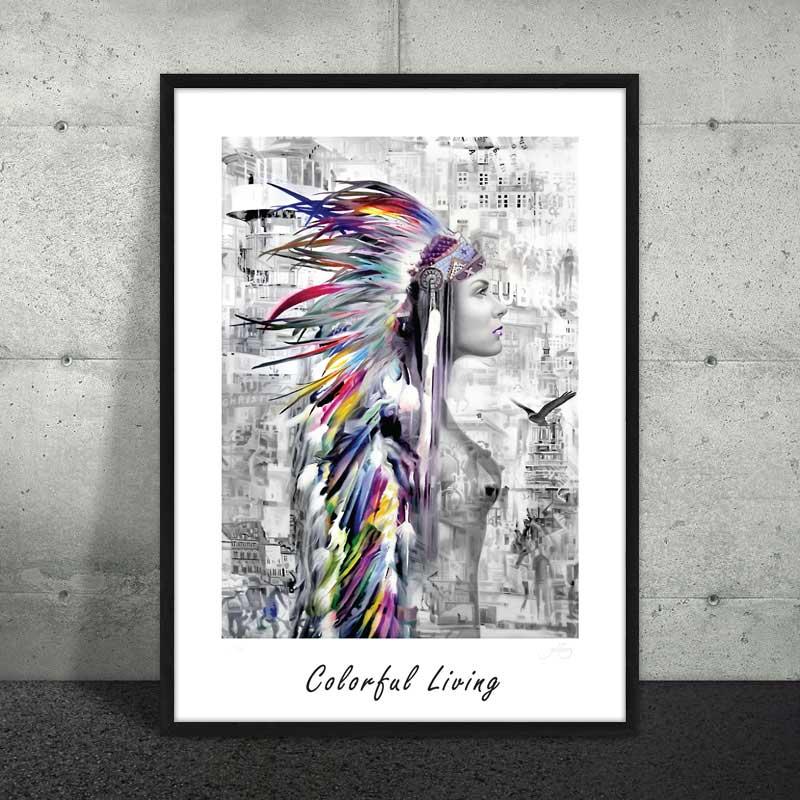 Seriøst → Plakat af sort / hvid indianer ← moderne plakat af kvinde - Se WN51