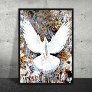 Plakat af hvid due