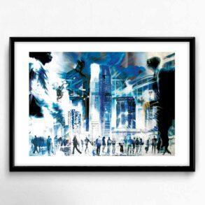 Plakat af blå storby