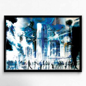 Plakat med storby i blå farver