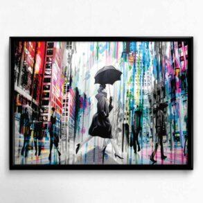 Plakat af dame i regn