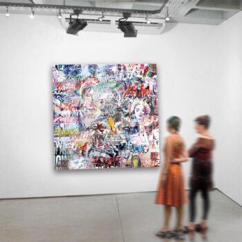 Abstrakt maleri med kendte mennesker