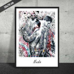 Plakat af nøgent par