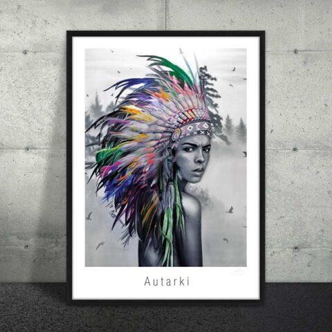 Plakat af kvindelig indianer