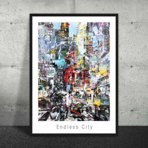 Plakat af livet i byen