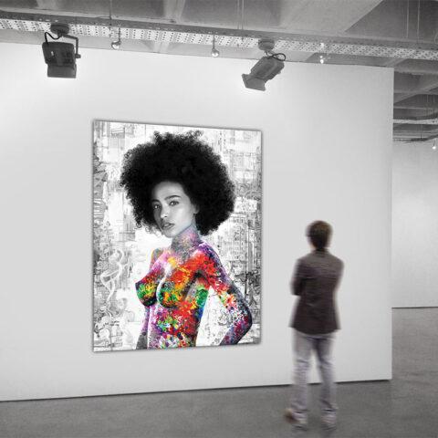 Lærredstryk med afro kvinde