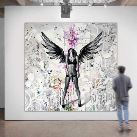 Maleri af kvinde med vinger