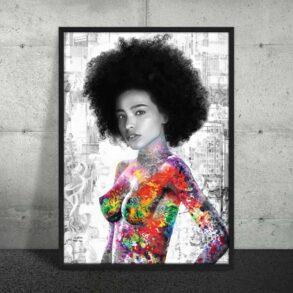 Plakat med smuk afro