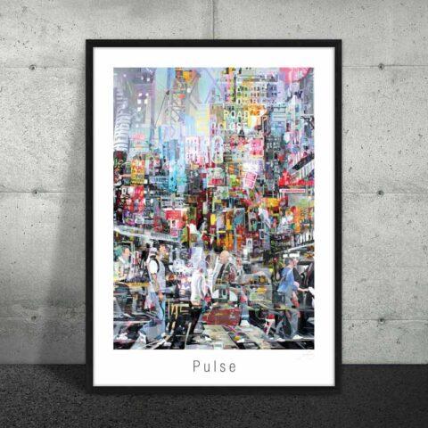 Plakat med collage af by