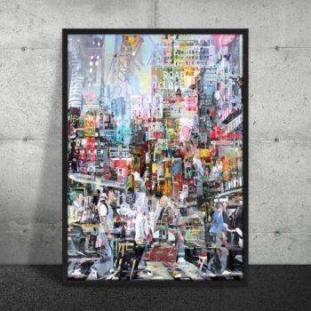 Plakat farverig by