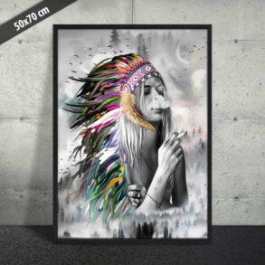 Plakat af fræk indianer