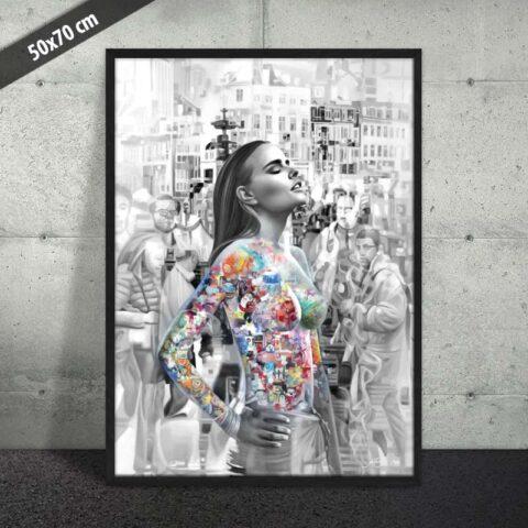 Plakat af smuk kvinde
