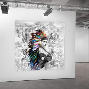 Maleri af smuk indianer