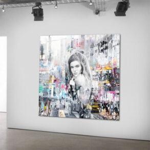 Maleri af kvinden i storbyen