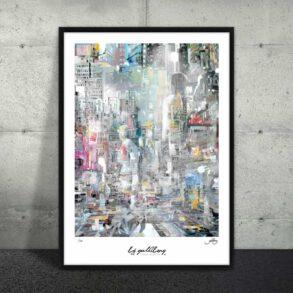 Plakat af storby i pastel