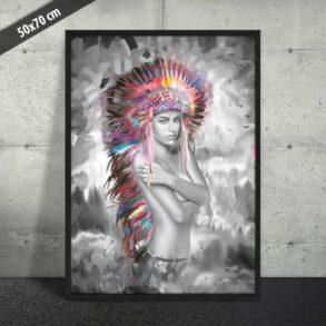 Smuk plakat af indianerkvinde