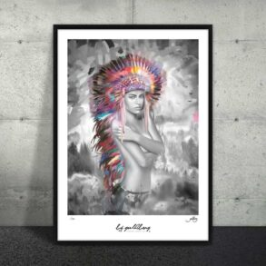 Plakat af indianer med fjer